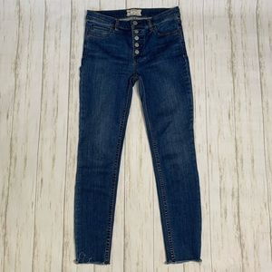 Free People Jeans Button Fly Ankle Raw Hem